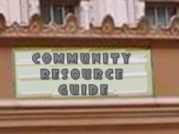 text Community Resource Guide on a theatre marquee
