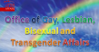 Rainbow with text: Office of Gay, Lesbian, Bisexual and Transgender (GLBT) Affairs